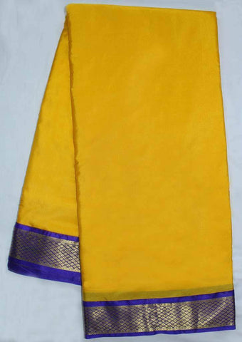 Yellow with Dark Blue  Coloured 9.5 Yards Silk Saree - FP53502 ARRS Silks