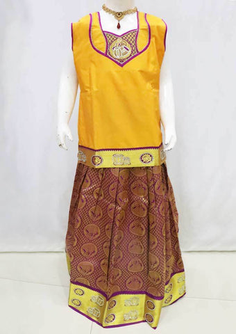 Yellow with Dark Pink Pattu Pavadai - FQ103720 (Size : 11 Years ) ARRS Silks