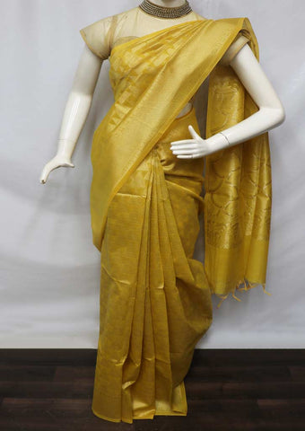 Yellow with Golden Silk Cotton Saree - GE21135 ARRS Silks
