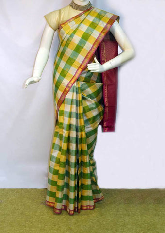 Yellow with Green Checked Kanchipuram Silk Saree - FK28010 ARRS Silks