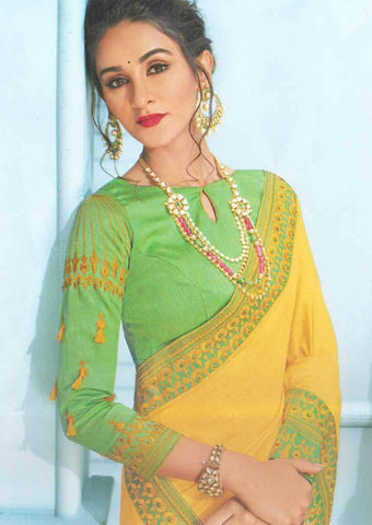 Yellow with Green Designer Saree-FS7558 ARRS Silks
