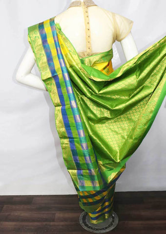 Yellow with Green Kanchipuram Silk Saree -9KA2532 ARRS Silks