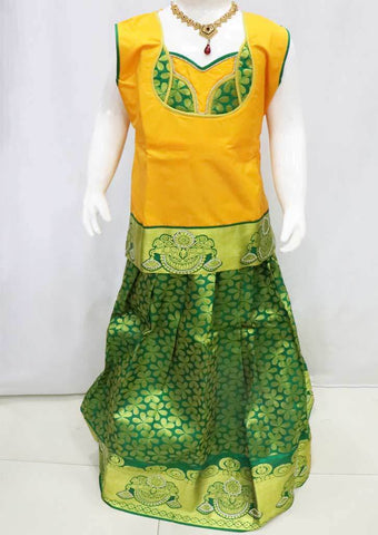 Yellow with Green Pattu Pavadai - FU3417 (Size : 11 Years ) ARRS Silks