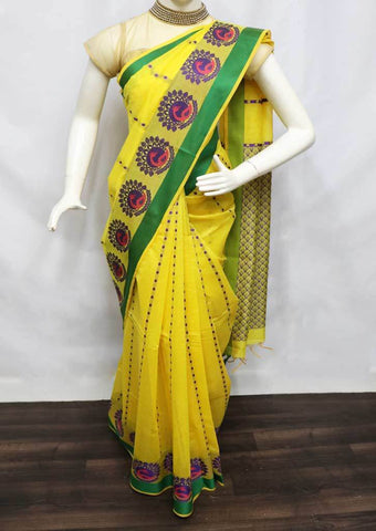 Yellow with Green Silk Cotton Saree - FR68907 ARRS Silks