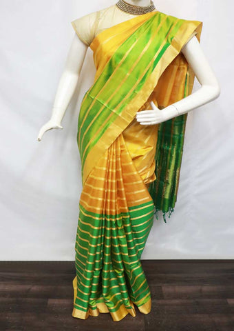 Yellow with Green Soft Silk Saree - FR46827 ARRS Silks