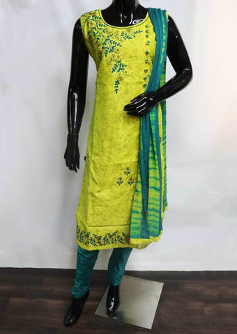Yellow with Green Straight Cut  Readymade Salwar-FS38426 ARRS Silks
