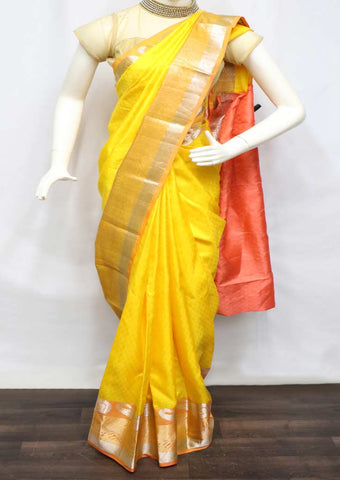 Yellow With Light Crossandra Kanchipuram Silk Saree - FM83150 ARRS Silks