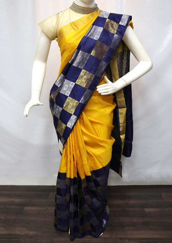 Yellow With Navyblue Kanchipuram Silk Saree - GE296 ARRS Silks