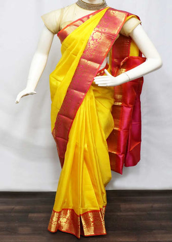 Yellow With Orange Kanchipuram Silk Saree - FL182 ARRS Silks