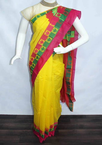 Yellow with orange pink shade Silk Cotton Saree - FP44771 ARRS Silks