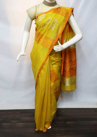 Yellow with Orange Silk Cotton Saree - FU21457 ARRS Silks