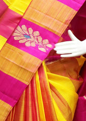 Yellow with Pink checked Kanchipuram Silk Saree -FT20332 ARRS Silks