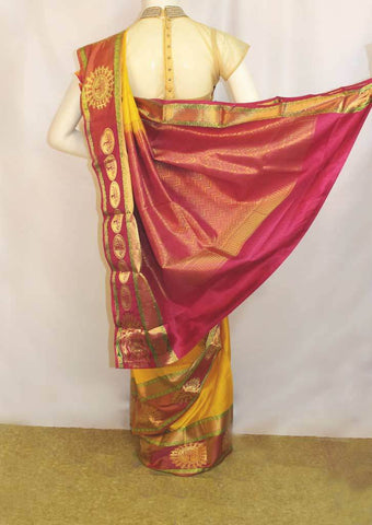 Yellow with Pink Kanchipuram Silk Saree - EY1384 ARRS Silks