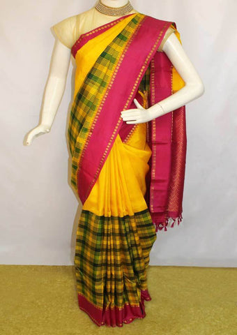 Yellow with Pink Kanchipuram Silk Saree-FA17821 ARRS Silks