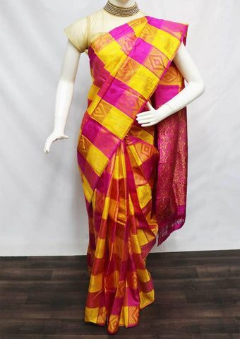 Yellow with Pink Kanchipuram Silk Saree -FD6116 ARRS Silks