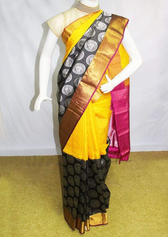Yellow with Pink Kanchipuram Silk Saree-FM92083 ARRS Silks