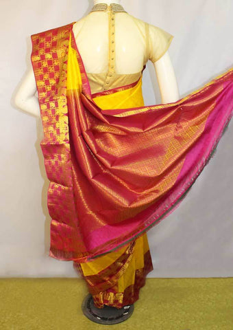 Yellow with Pink Kanchipuram Silk Saree-FM92131 ARRS Silks