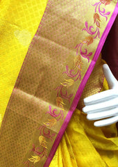 Yellow with Pink Kanchipuram Silk Saree - FQ41750 ARRS Silks