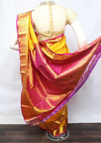 Yellow With Pink Kanchipuram Silk Saree - FU70873 ARRS Silks
