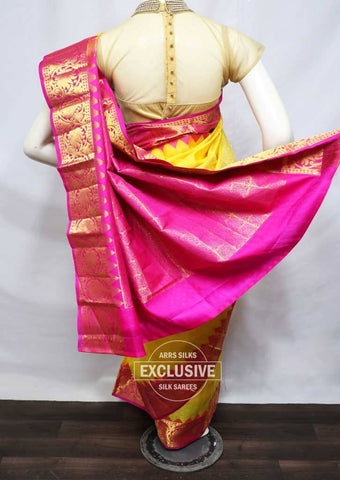 Yellow with Pink Kanchipuram Silk Saree - FV7406 ARRS Silks
