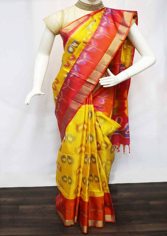 Yellow with Pink Pochampally  Silk Saree - FU45208 ARRS Silks