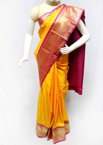 Yellow with Pink Semi Silk Saree- FS43746 ARRS Silks