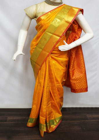 Yellow With Pink Semi Silk Saree  -GB86199 ARRS Silks