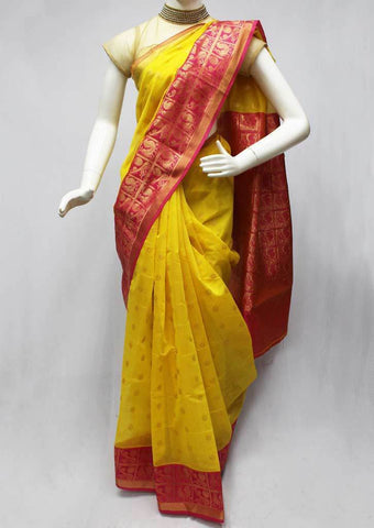 Yellow with Pink Silk Cotton Saree - FO88440 ARRS Silks