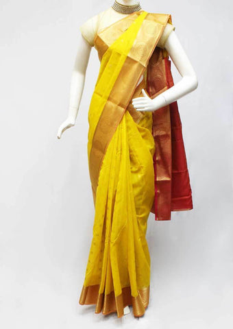 Yellow with pink Silk Cotton Saree - FR77621 ARRS Silks