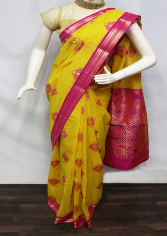 Yellow With Pink Silk Cotton Saree - GB111750 ARRS Silks