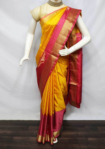 Yellow with Pink Soft Silk Saree - FU44105 ARRS Silks