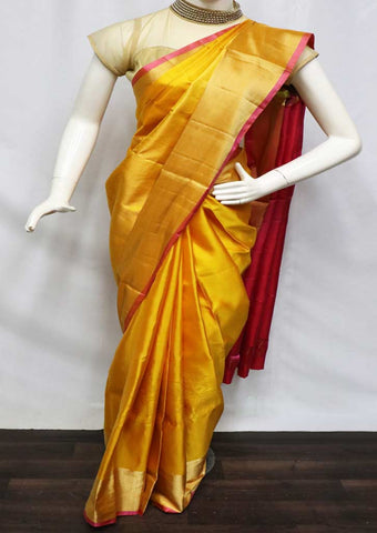 Yellow with Pink Soft Silk Saree - FU45214 ARRS Silks