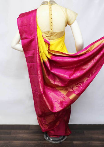 Yellow With Pink Soft Silk Saree - FU45329 ARRS Silks