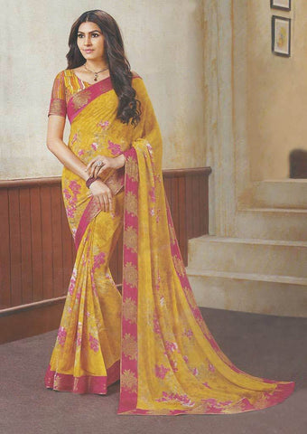 Yellow with Pink Synthetic Saree-FP33474 ARRS Silks