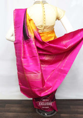 Yellow With Pink Wedding Silk Saree - 9KA3869 ARRS Silks