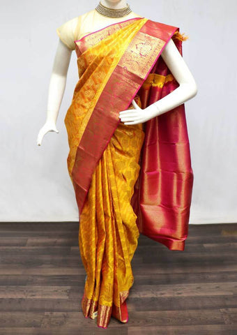 Yellow with Pink Wedding Silk Saree - FA8304 ARRS Silks