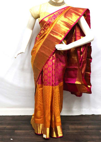 Yellow With Pink Wedding Silk Saree - FV6962 ARRS Silks