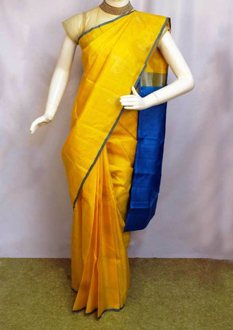 Yellow with Ramar Blue Kanchipuram Silk Saree - EY2503 ARRS Silks Salem