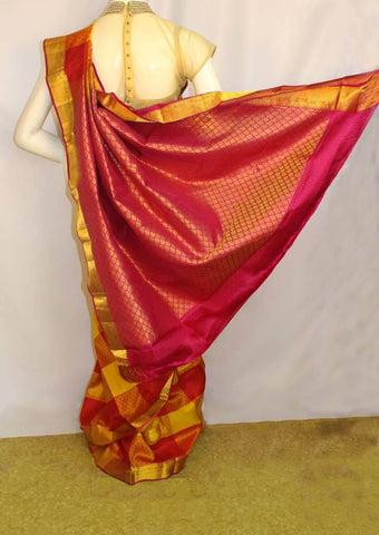 Yellow with Red checked Kanchipuram Silk Saree - FM89837 ARRS Silks