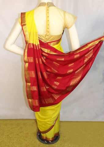 Yellow with Red  Mysore Silk Saree-FL68307 ARRS Silks