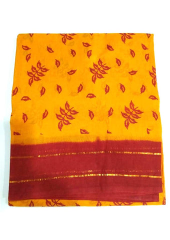 Yellow with Red Pure Cotton Saree - 001 ARRS Silks