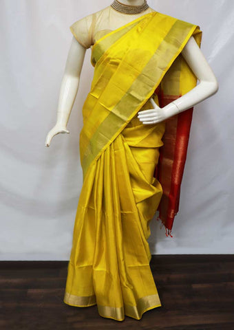 Yellow With Red Soft Silk Saree - GE37792 ARRS Silks