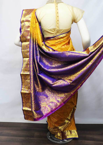 Yellow With Violet Kanchipuram Silk Saree -FG4878 ARRS Silks