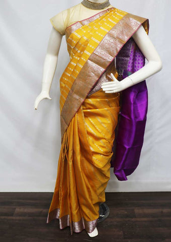 Yellow With Violet Kanchipuram Silk Saree - FQ31440 ARRS Silks