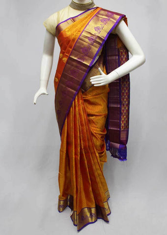 Yellow with Violet Kanchipuram Silk Saree - FQ41840 ARRS Silks