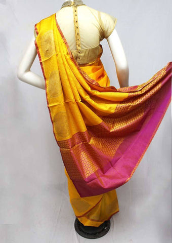 Yellow with Violet Organza Cotton Sarees- FQ135718 ARRS Silks