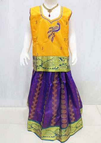 Yellow with Violet Pattu Pavadai - FI9371 (Size : 11 Years ) ARRS Silks