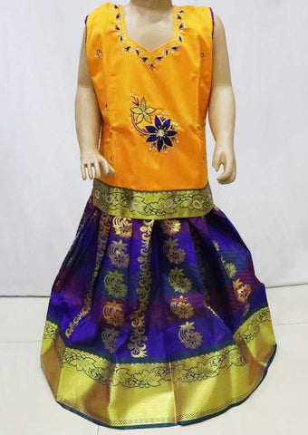 Yellow with Violet  Pattu Pavadai -FR21851  (Size : 5 Years ) ARRS Silks