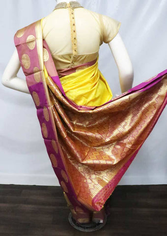 Yellow with Violet Semi Silk Saree - FU1600 ARRS Silks