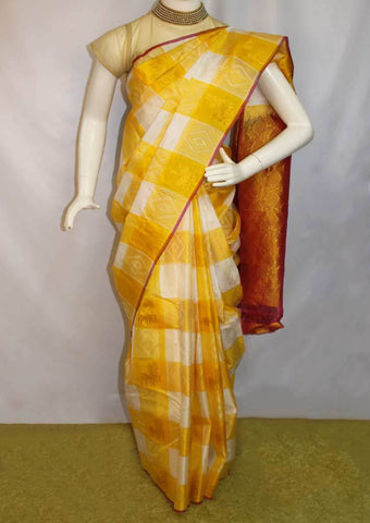 Yellow With White Checked  Kanchipuram Silk Saree-FM92089 ARRS Silks Salem